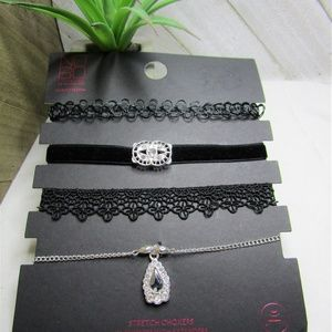 5/$15 - Set of Four Black and Silver Chokers